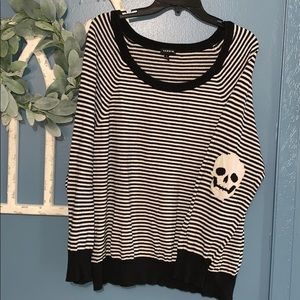 Torrid striped skull sweater